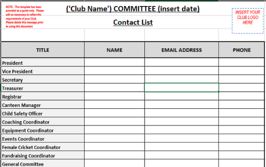 Committee Contact List Template